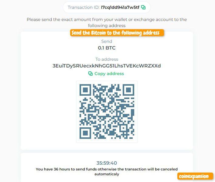 changelly send the bitcoin