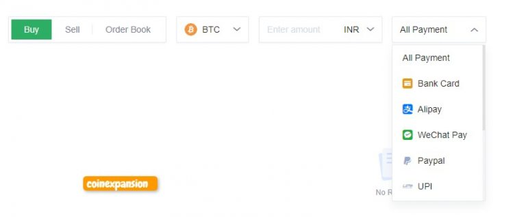 OKEx Exchange c2c or p2p trading platform