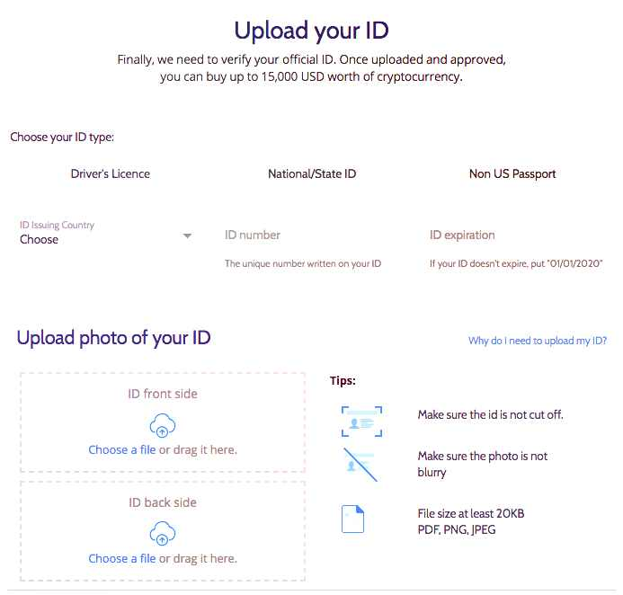 coinmama upload front and back of image