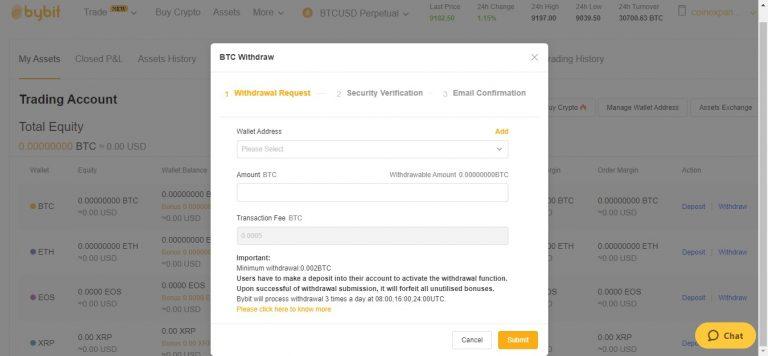bybit exchange withdrawal