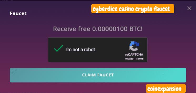 cyberdice crypto casino faucet