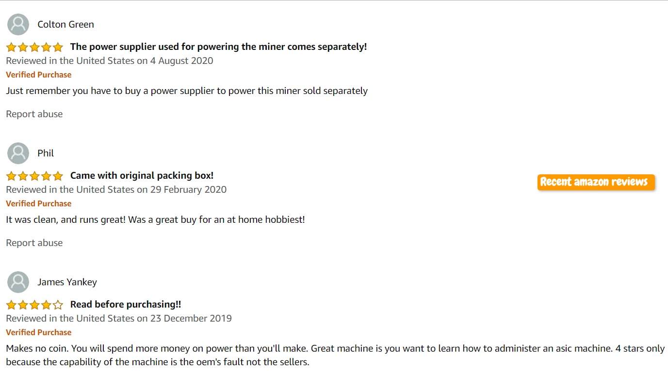 recent amazon reviews on mining devices