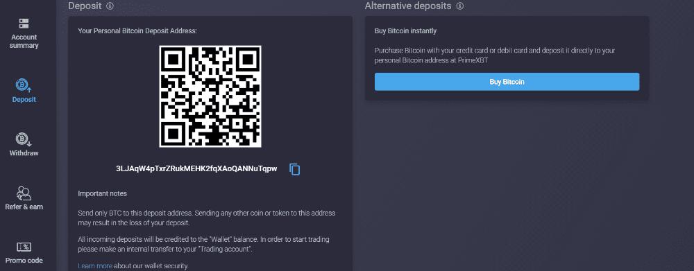 how to make a deposit at primexbt trading platform