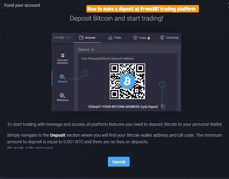 how to deposit bitcoins at primexbt trading platform