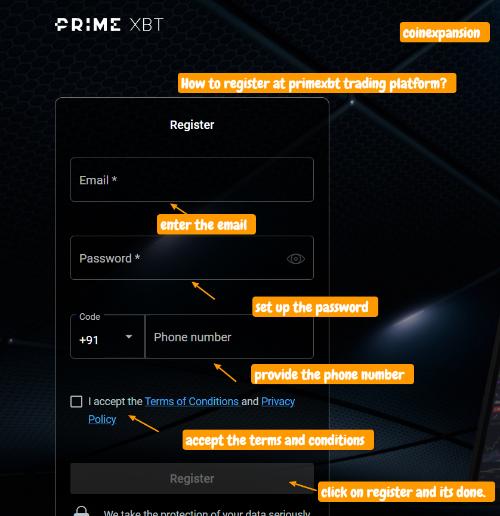 how to register at primexbt trading platform
