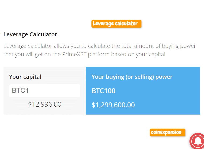 PrimeXBT Leverage calculator