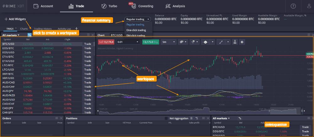 primexbt trading platform interface