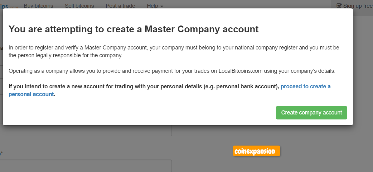 how to create an company account at localbitcoins.com