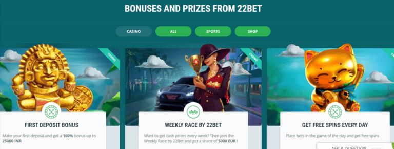22 bet casino bonus offers