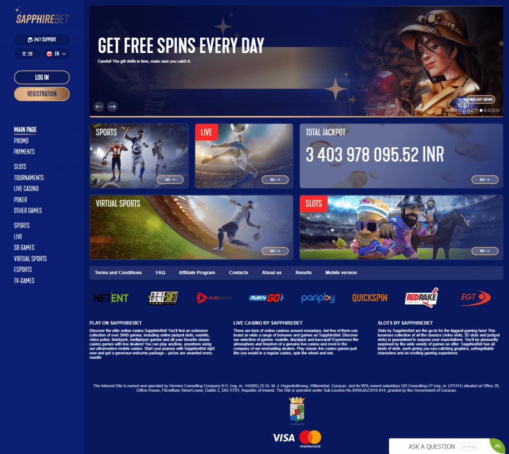 sapphirebet casino homepage