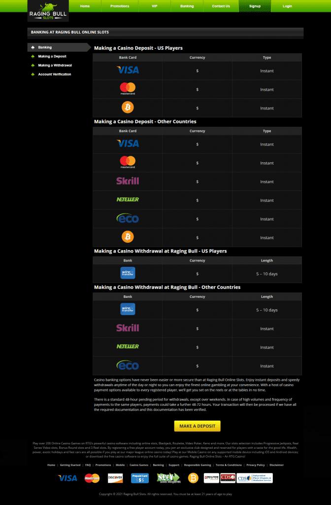 Raging Bull Casino Payments