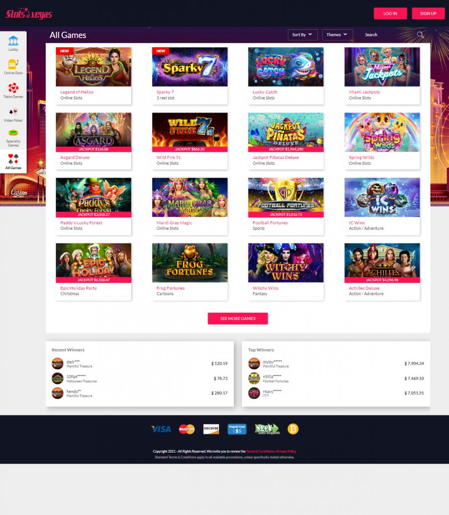 Slots Of Vegas Games list