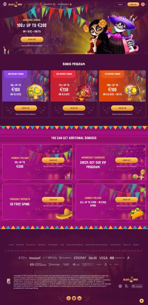 slotvibe casino bonuses