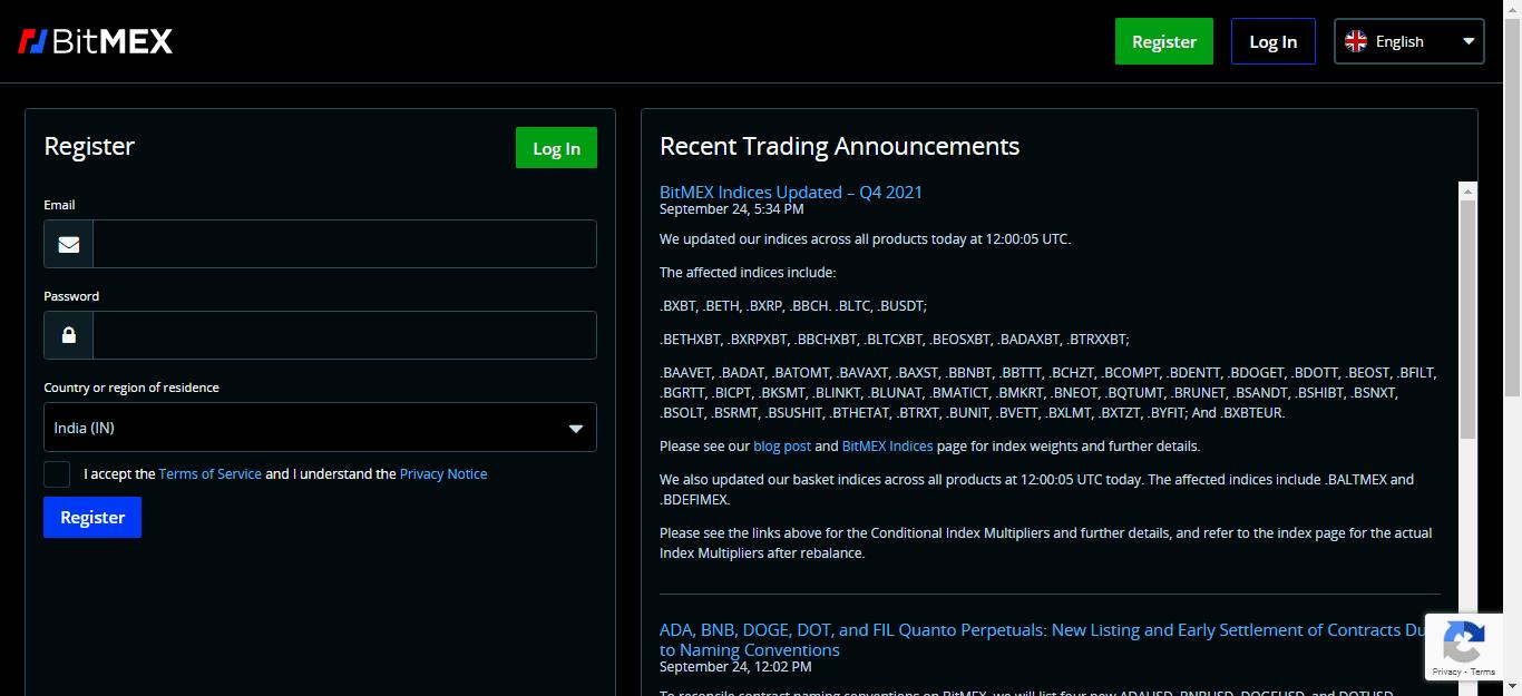 BitMEX exchange registration