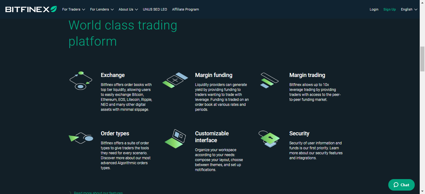 Bitfinex homepage